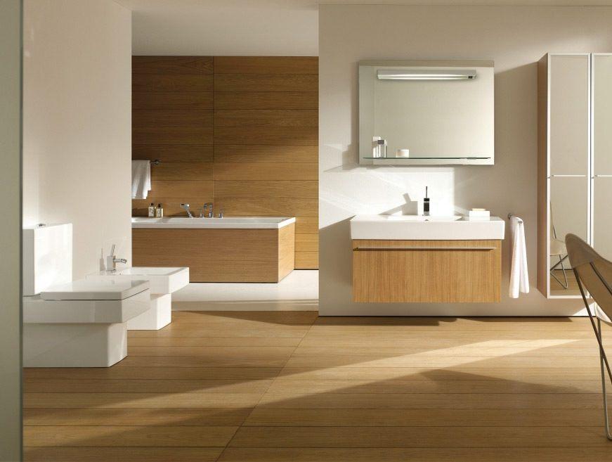 Casa de banho moderna de madeira natural fotos e imagens for Salas de bano modernas